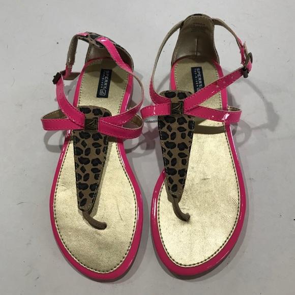 Sperry Cheetah Print Flat Sandals / Thong